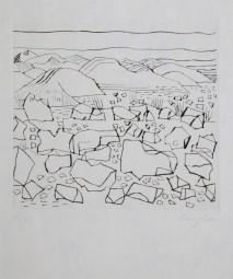 Eduard Bargheer, Radierung Landschaf 1965