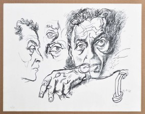 Renato Guttuso, Selbstporträt, Lithografie