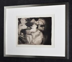 Käthe Kollwitz, Radierung Tod und Frau um das Kind ringend 1911