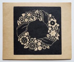 Martha Vogeler, original Holzschnitt Blütenkranz