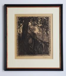 Heinrich Vogeler, Original-Radierung Lärche 1897, signiert