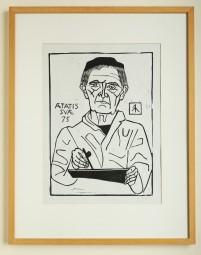 Gerhard Marcks, Linolschnitt Selbstbildnis 1964