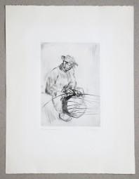 Lisel Oppel, Radierung, Korbflechter