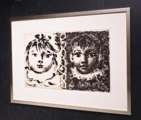 Pablo Picasso, Lithografie, Paloma et Claude 1950