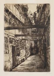 Amelie Ruths, originale Radierung, Dovenfleeth Hof Hamburg
